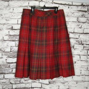 Pendleton Red Plaid Pleated Vintage Wool Skirt